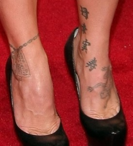 Pink's Japanese Kanji Ankle Tattoos