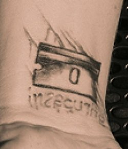 Pink's Razor Blade and Insecurity Tattoo