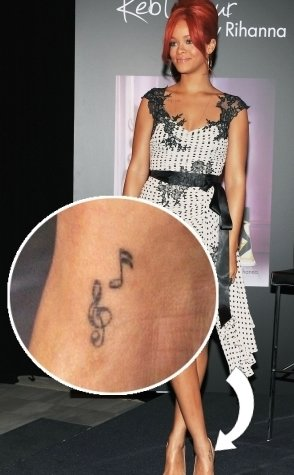 Rihanna's Music Note Tattoo on Her Ankle