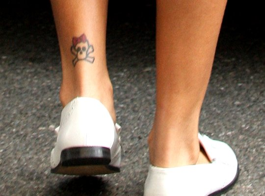 Rihanna's Cute Ankle Skull Tattoo