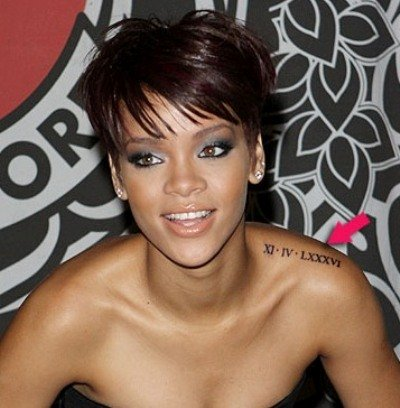 Rihanna's Roman Numeral Tattoo on Her Shoulder
