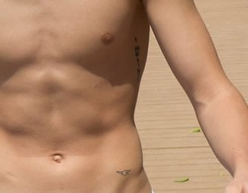 Justin Bieber's Small Bird Tattoo on His Waist / Hip