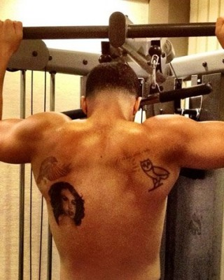 Drake's Back Aaliyah Portrait Tattoo