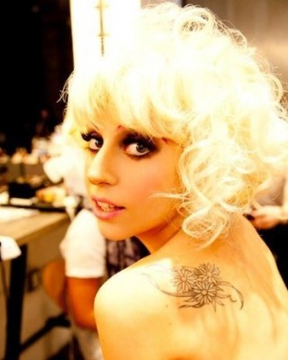 Lady Gaga's Flowers Tattoo on Her Shoulder