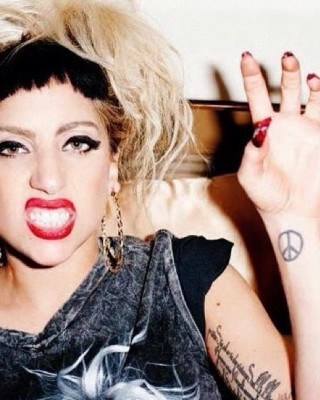 Lady Gaga's Peace Sign Wrist Tattoo