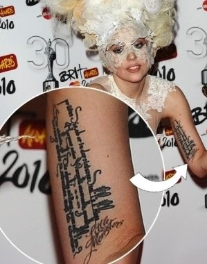Lady Gaga's Little Monsters Wrist Tattoo
