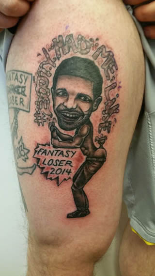Check Out This Fantasy Football League Loser's Ridiculous Drake Thigh Tattoo