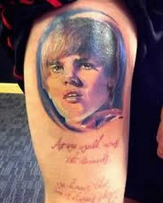 Weird (and a Little Scary) Tattoos of Justin Bieber!
