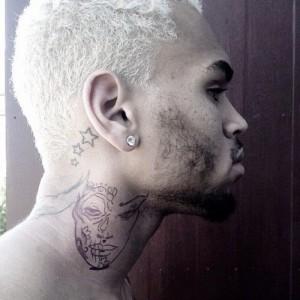 Chris Brown Tattoo of Woman's Face