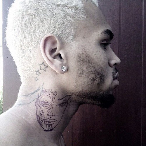 Chris Brown is Getting a New Neck Tattoo of a Woman's Face