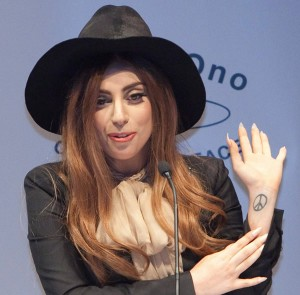 Lady Gaga Explains Peace Tattoo During LennonOno Award Acceptance Speech