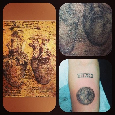 Miley Cyrus' Da Vinci Anatomical Heart Tattoo