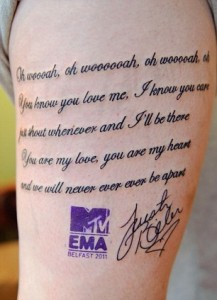 Superfan Gets Huge Justin Bieber Tattoo of Lyrics on Her Leg