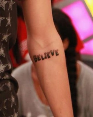 Justin Bieber's Believe Tattoo on His Arm