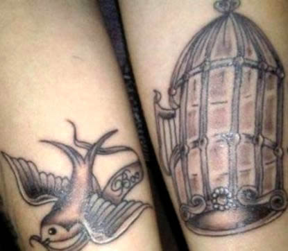 Cher Lloyd's Flying Bird & Birdcage Arm Tattoos