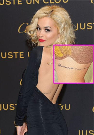 "Rita Ora's ""Love All…"" Quote Tattoo on Her Ribcage"