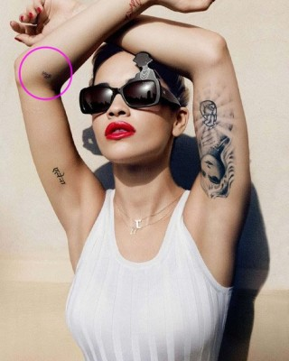 Rita Ora's Purple Arm Tattoo of Brother's Name