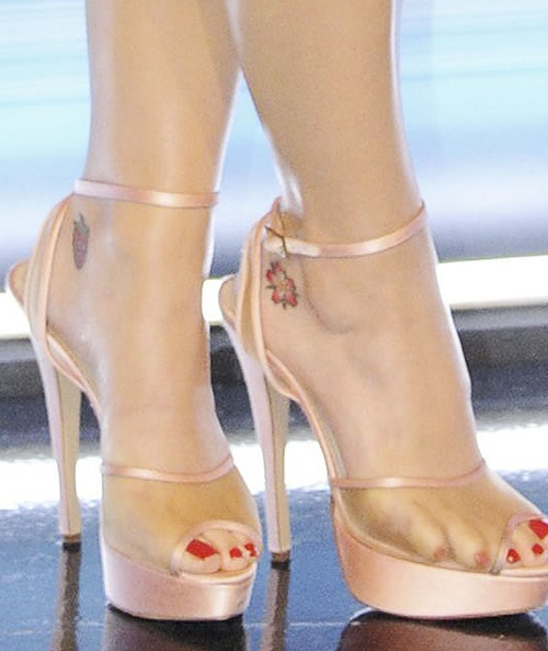 Katy Perry's Cherry Blossom Ankle Tattoo