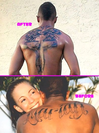 "6caa5b89ac499 Nick Cannon Covers Up ""Mariah"" Ink With Huge Cross Tattoo"