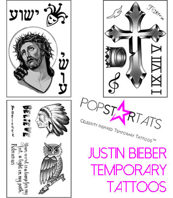 Justin Bieber temporary tattoos2b