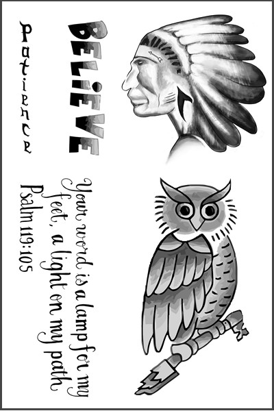 Justin Bieber Owl Temporary Tattoo Sheet