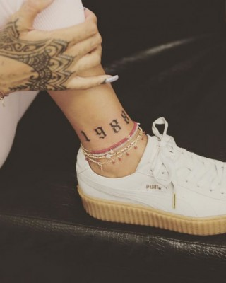 "Rihanna Rocks New ""1988"" Ankle Tattoo Inked by Bang Bang"
