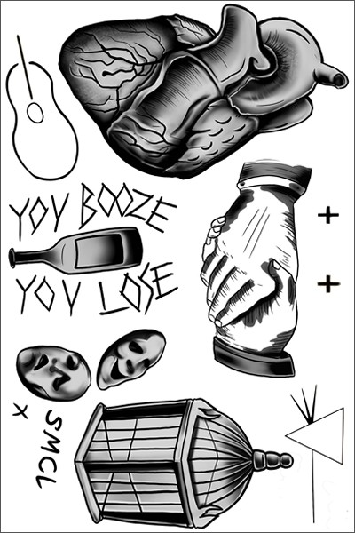Harry Styles Heart Temporary Tattoo Sheet
