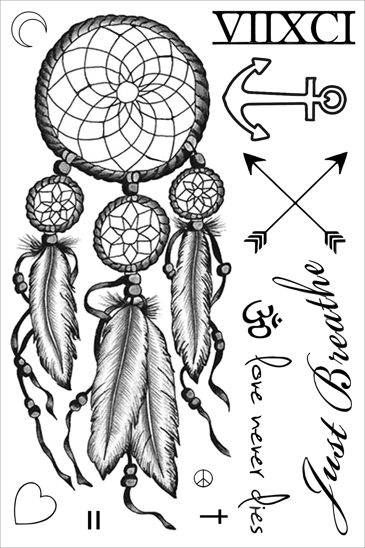 Miley Cyrus Dreamcatcher Temporary Tattoo Sheet of Temporary ...