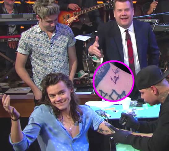"Harry Styles Plays Tattoo Roulette on Live TV, Gets New ""Late Late"" Arm Tattoo"