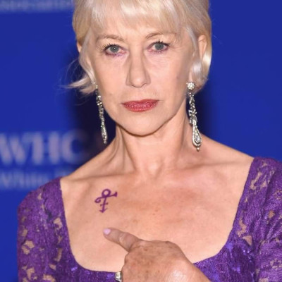 Helen Mirren Dons Purple Dress and Faux Prince Tribute Tattoo at White House Correspondents' Dinner