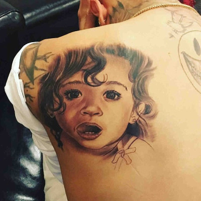 Chris Brown's Newest Tattoo is a Huge Portrait of His Daughter, Royalty