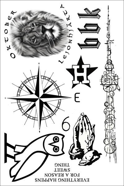 drake temporary tattoo sheet of temporary tattoos