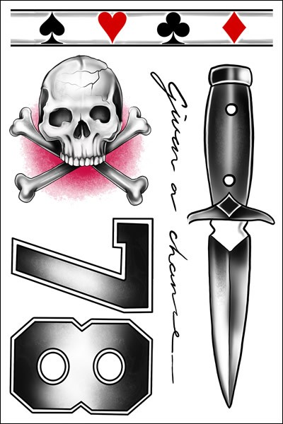 Louis Tomlinson Dagger Temporary Tattoo Sheet