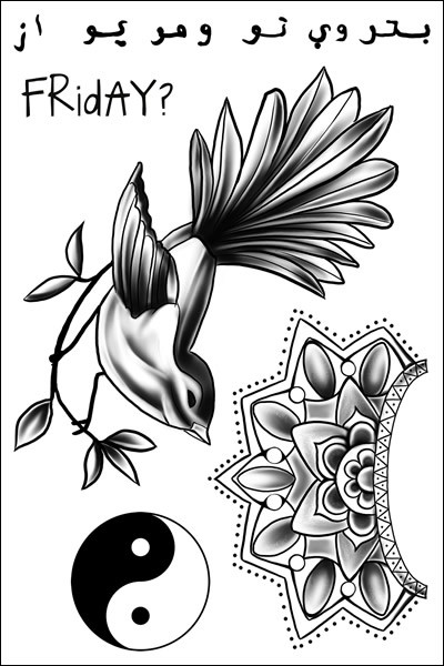 Zayn Malik Bird Temporary Tattoo Sheet
