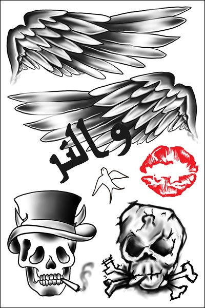Zayn Malik Wings Temporary Tattoo Sheet